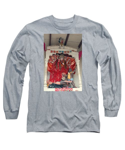 Durga On The Yamuna, Vrindavan Long Sleeve T-Shirt by Jennifer Mazzucco