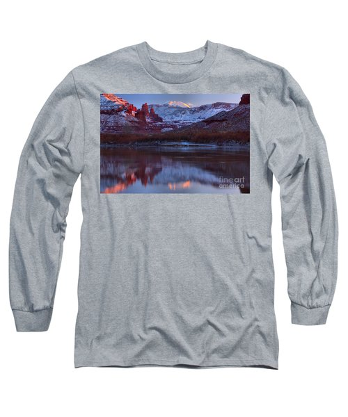 Long Sleeve T-Shirt featuring the photograph Dusk At Fisher Towers by Adam Jewell