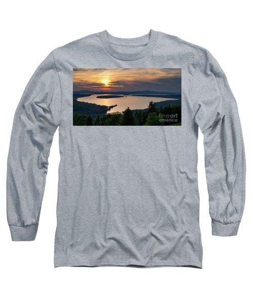 Long Sleeve T-Shirt featuring the photograph Dusk, Mooselookmeguntic Lake, Rangeley, Maine -63362-63364 by John Bald