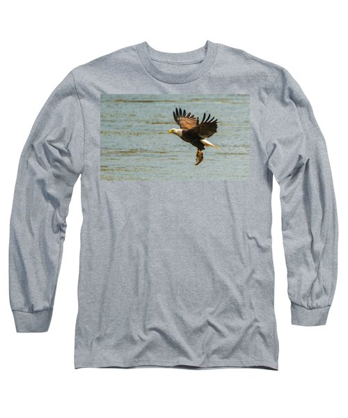 Eagle Departing With Prize Close-up Long Sleeve T-Shirt