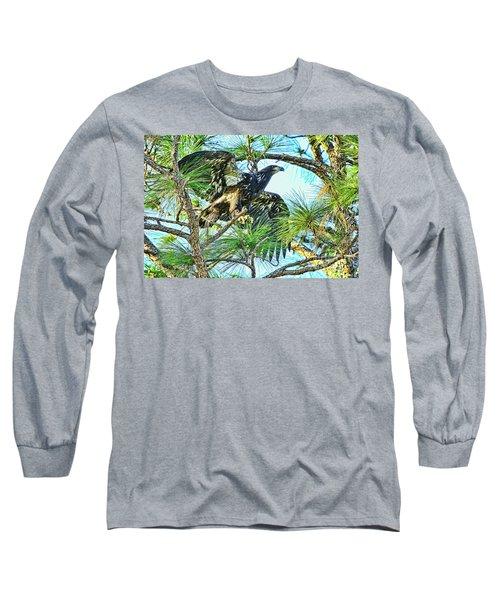 Long Sleeve T-Shirt featuring the photograph Eagle Fledgling 2017 by Deborah Benoit