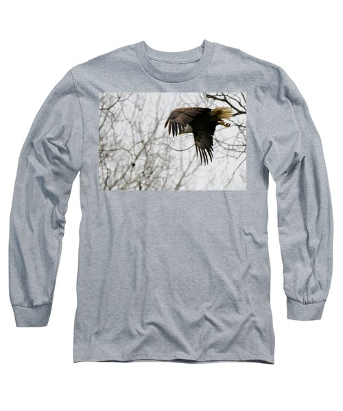 Long Sleeve T-Shirt featuring the photograph Eagle In Flight by Michael Peychich