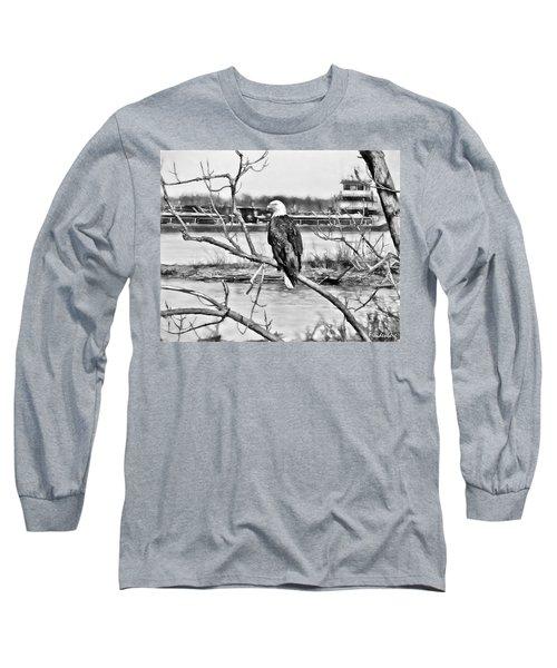 Eagle On The Illinois River Long Sleeve T-Shirt by John Freidenberg