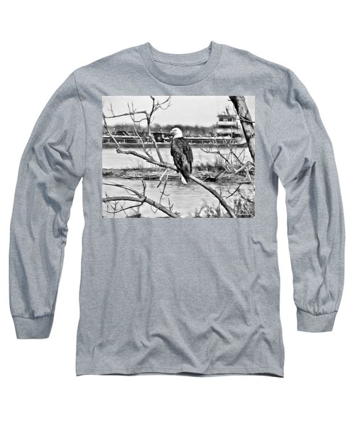 Eagle On The Illinois River Long Sleeve T-Shirt