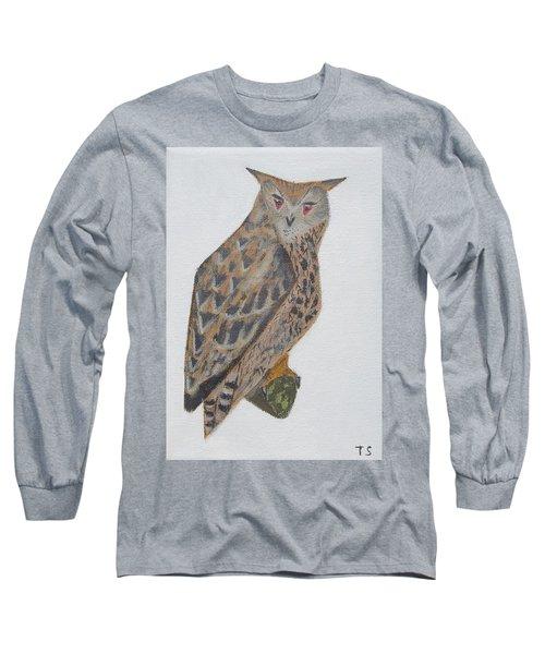 Eagle Owl Long Sleeve T-Shirt by Tamara Savchenko