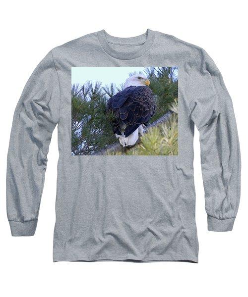 Eagle Portrait Long Sleeve T-Shirt by Brook Burling