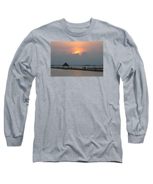 Early Sunset Over The Gazebo Long Sleeve T-Shirt by Robert Banach