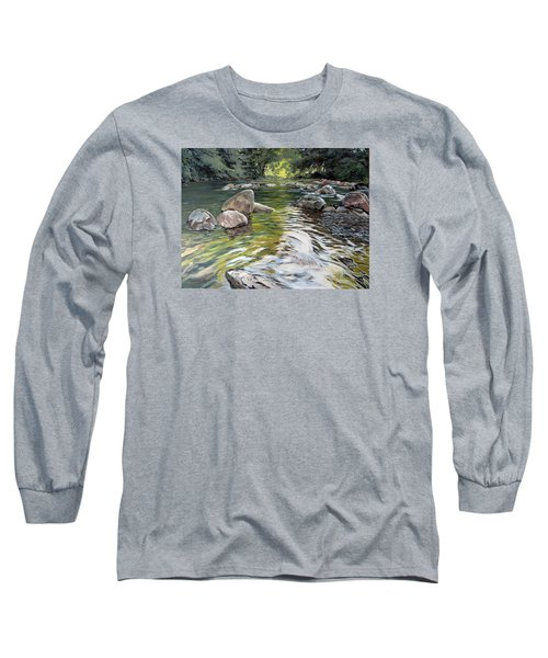 Long Sleeve T-Shirt featuring the painting East Okement River by Lawrence Dyer