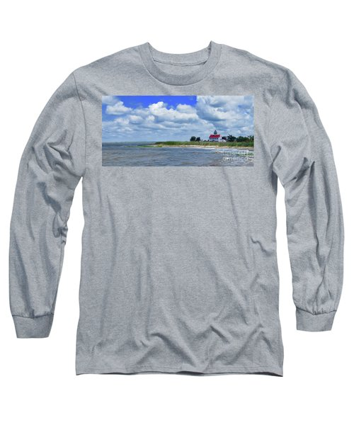 East Point Lighthouse At High Tide Long Sleeve T-Shirt by Nancy Patterson
