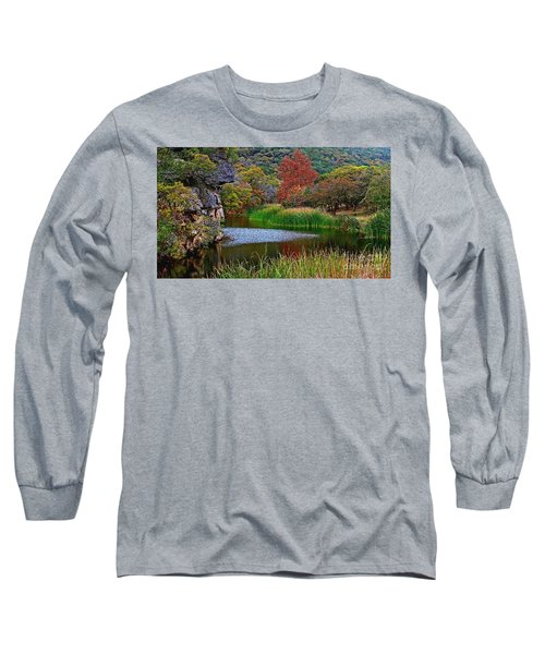 East Trail Pond At Lost Maples Long Sleeve T-Shirt