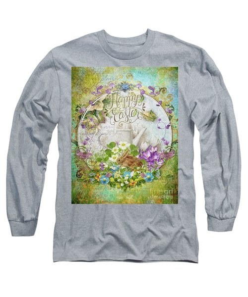 Long Sleeve T-Shirt featuring the mixed media Easter Breakfast by Mo T