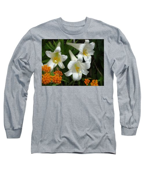 Easter Lilies And Butterfly Weed Long Sleeve T-Shirt