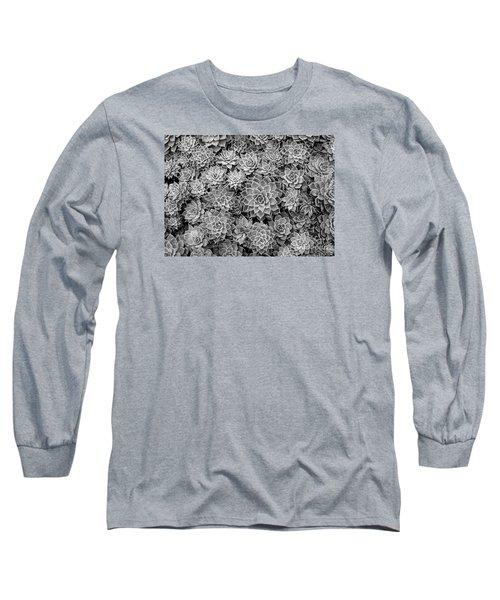 Echeveria Monochrome Long Sleeve T-Shirt by Ranjini Kandasamy