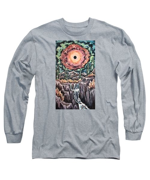 Long Sleeve T-Shirt featuring the painting Eclipse- When The Sun Goes Dark by Cheryl Pettigrew