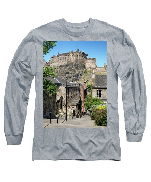 Long Sleeve T-Shirt featuring the photograph Edinburgh Castle From The Vennel by Jeremy Lavender Photography