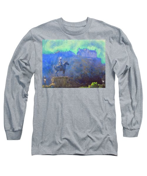 Edinburgh Castle Horse Statue Long Sleeve T-Shirt by Richard James Digance