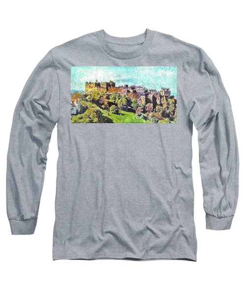 Edinburgh Castle Skyline No 2 Long Sleeve T-Shirt by Richard James Digance