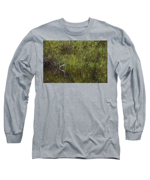 Egret Hunting In Reeds Long Sleeve T-Shirt