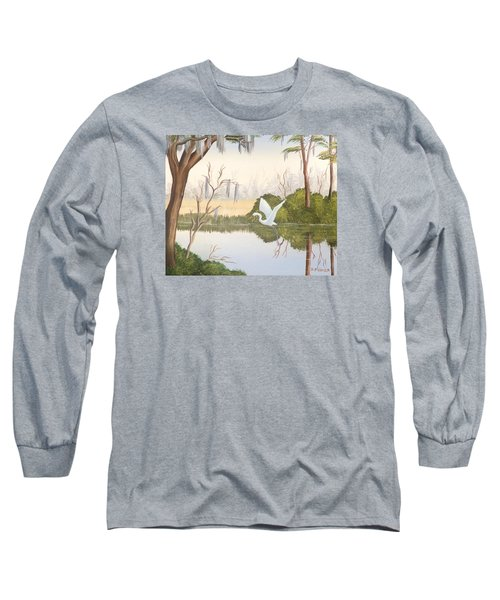 Egret In Flight 1 Long Sleeve T-Shirt