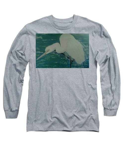 Long Sleeve T-Shirt featuring the painting Egret by Judi Goodwin