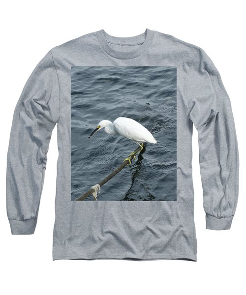 Egret On The Munch Long Sleeve T-Shirt by Margie Avellino