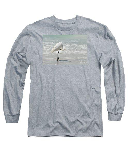 Egret Preening 6278 Long Sleeve T-Shirt