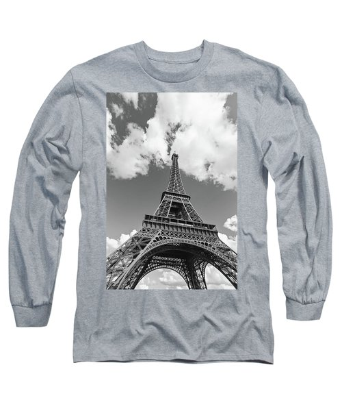 Eiffel Tower - Black And White Long Sleeve T-Shirt