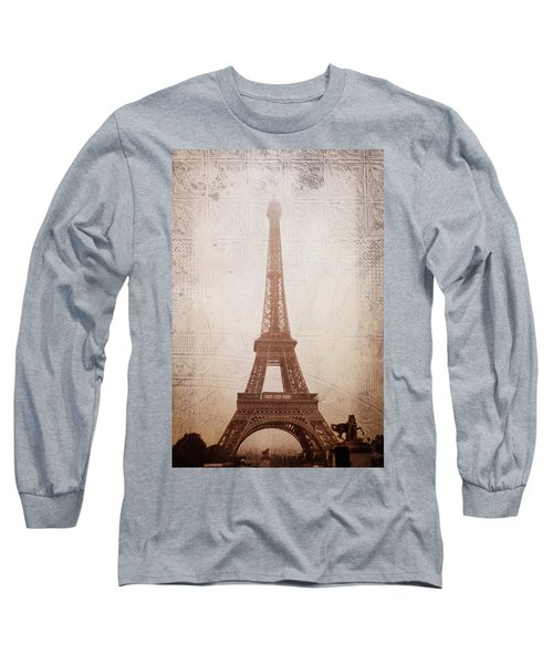 Long Sleeve T-Shirt featuring the digital art Eiffel Tower In The Mist by Christina Lihani