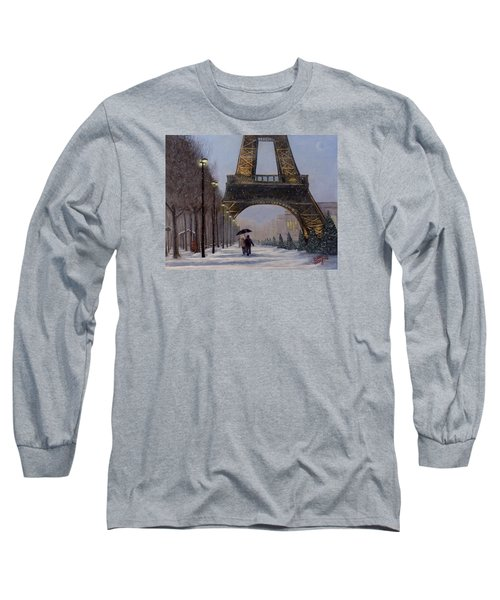 Long Sleeve T-Shirt featuring the painting Eiffel Tower In The Snow by Dan Wagner