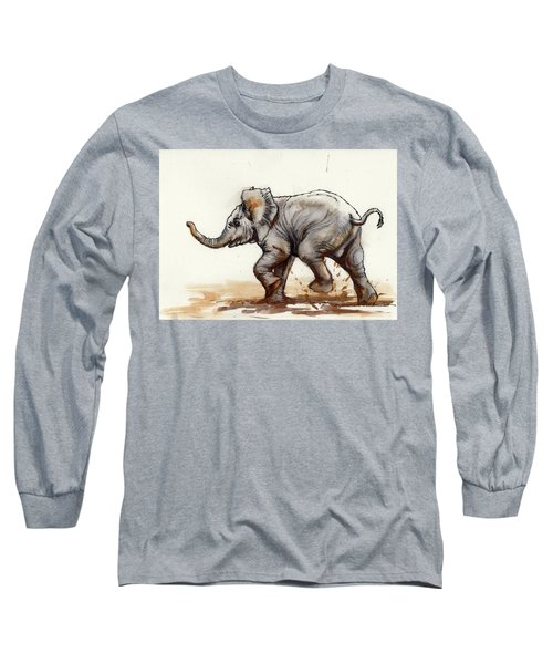Long Sleeve T-Shirt featuring the painting Elephant Baby At Play by Margaret Stockdale