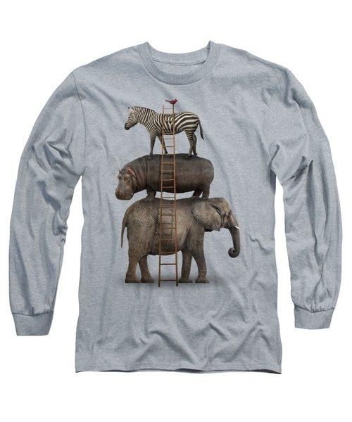Elephant, Hippo, Zebra Animal Stack With A Cardinal Long Sleeve T-Shirt by Greg Noblin