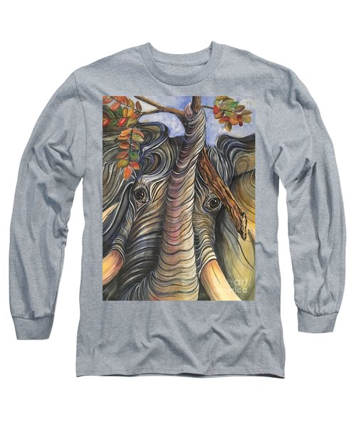 Elephant Holding A Tree Branch Long Sleeve T-Shirt