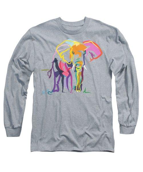 Elephant In Color Ecru Long Sleeve T-Shirt