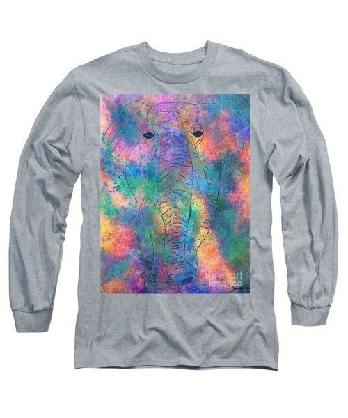 Long Sleeve T-Shirt featuring the painting Elephant Spirit by Denise Tomasura