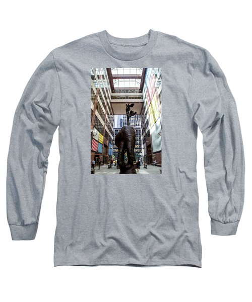Long Sleeve T-Shirt featuring the photograph Elephant With Tusks And Nijinski Hare In New York by Jean Haynes