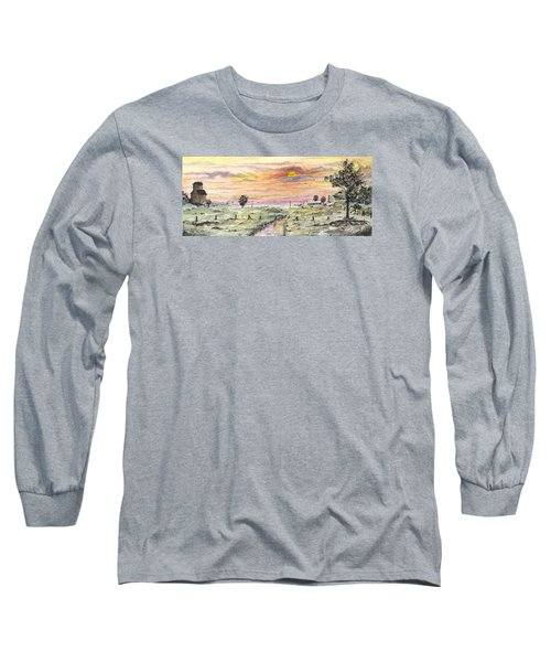 Elevator In The Sunset Long Sleeve T-Shirt by Darren Cannell