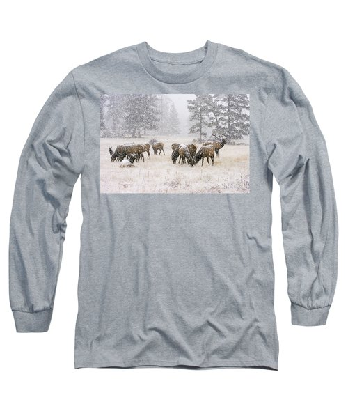 Elk In A Snow Storm - 1135 Long Sleeve T-Shirt