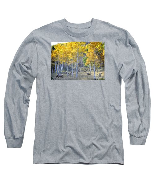 Elk In Rmnp Colorado Long Sleeve T-Shirt by Nava Thompson