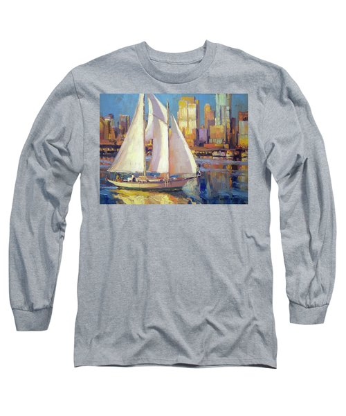 Long Sleeve T-Shirt featuring the painting Elliot Bay by Steve Henderson