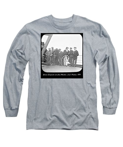 Long Sleeve T-Shirt featuring the photograph Emigrants Passangers And Crew Members On Deck Of Ss Pretori by A Gurmankin