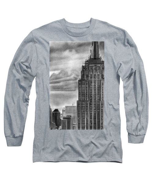 Empire State Building New York Pencil Drawing Long Sleeve T-Shirt
