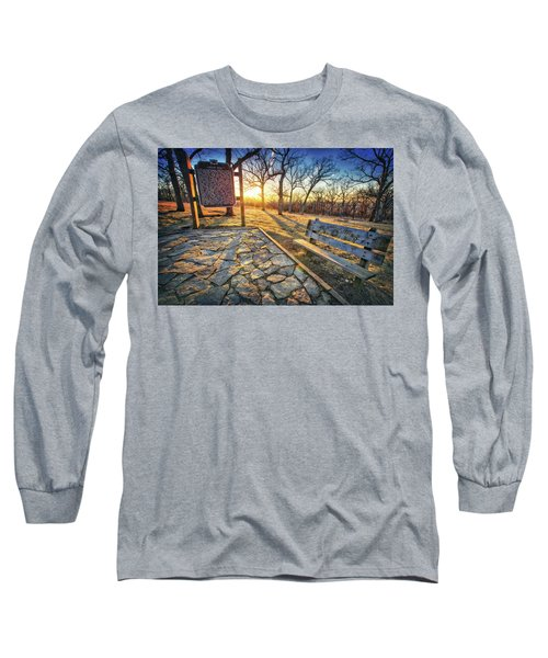 Long Sleeve T-Shirt featuring the photograph Empty Park Bench - Sunset At Lapham Peak by Jennifer Rondinelli Reilly - Fine Art Photography