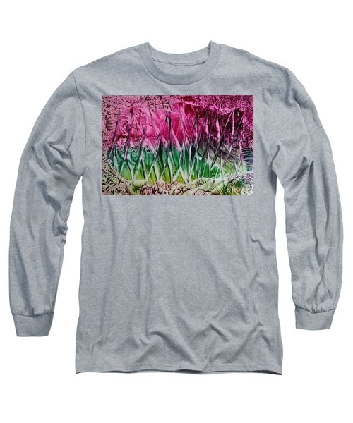 Encaustic Abstract Pinks Greens Long Sleeve T-Shirt