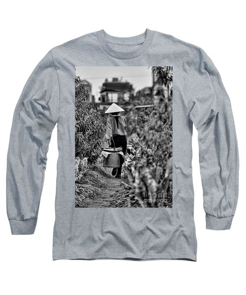 End Of The Day Vietnamese Woman  Long Sleeve T-Shirt by Chuck Kuhn