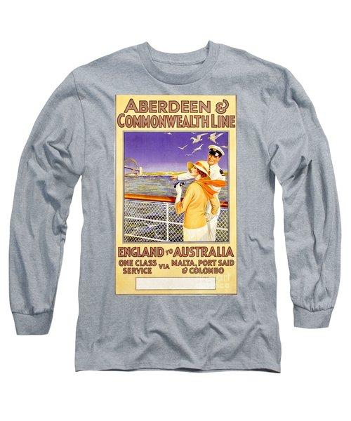 England To Australia Long Sleeve T-Shirt by Nostalgic Prints