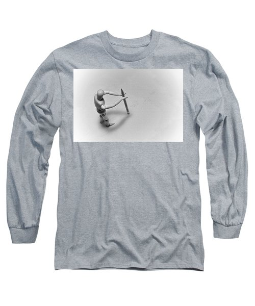Erasing His Tracks Long Sleeve T-Shirt by Mark Fuller