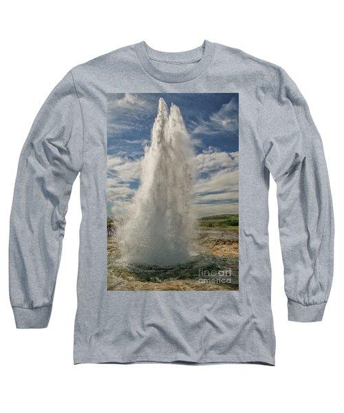 Erupting Geyser In Iceland Long Sleeve T-Shirt