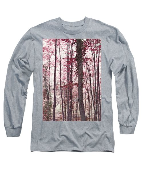 Ethereal Austrian Forest In Marsala Burgundy Wine Long Sleeve T-Shirt by Brooke T Ryan
