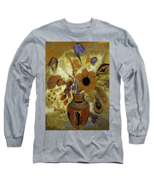 Long Sleeve T-Shirt featuring the painting Etrusian Vase With Flowers by Odilon Redon