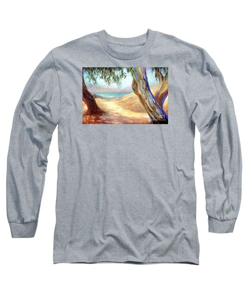 Long Sleeve T-Shirt featuring the painting Eucalyptus Beach Trail by Michael Rock